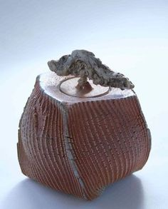Patricia Shone, 2011. Beaten box 'rain from the west', height 14cm, hand built, wood fired stoneware: