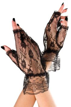 Black Floral Lace Elbow Length Gloves