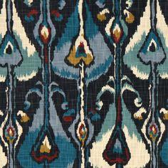 Ikat Bands Fabric in Indigo  at Joss and Main