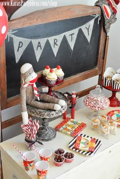 Sock Monkey Birthday Party via Kara's Party Ideas - www.KarasPartyIdeas.com