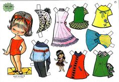 muñecas recortables, paper dolls, Бумажные куклы Origami Shirt, Origami Dress, Dress Illustration, Paper Crafts Origami, Vintage Paper Dolls, Paper Toys, Sweet Memories, Print And Cut, Girl Scouts