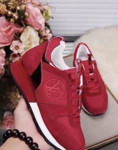 326509e60d2544 Louis Vuitton Inspired Red Run Away Sneakers