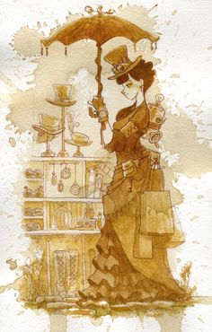Back to Tea Girls  Couture  Illustrated by ink, hand tinted with chamomile tea and then finished with watercolor. <3 So creative.