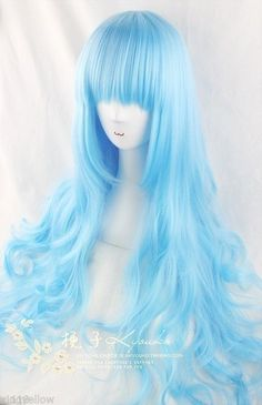 beauty Ice blue/length/roll ciel queen cosplay wig $19.99 free shipping