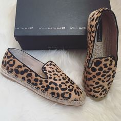 """Leopard Pony Hair Espadrille Flats Preloved espadrille flats, in excellent condition with wear on the bottom sole. This espadrille gives off a casual look with a chic fashion twist. Slip into these pony hair flats and walk around anywhere with confidence and simple sophistication! 3/4"""" platform height.❌NO TRADES OR PAYPAL❌ Steven by Steve Madden Shoes Espadrilles"""