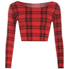 Dixie Red Tartan Print Crop Top ❤ liked on Polyvore featuring tops, plaid top, red crop top, red top, plaid crop top and tartan crop top