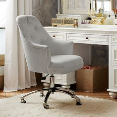 Shop twill tufted desk chair from Pottery Barn Teen. Our teen furniture, decor and accessories collections feature fun and stylish twill tufted desk chair. Create a unique and cool teen or dorm room. Tufted Desk Chair, Desk Chair Teen, Swivel Chair, Teen Desk, Upholstered Chairs, Chair Cushions, Upholstered Headboards, Ikea Chair, Chair Bench