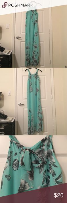 "Floral print chiffon maxi dress in teal. Size L. Very flowy, has pretty flower print. Bust 39.37"", waist 32.68"", hips 42.13"" and length 57.09"". Dresses Maxi"