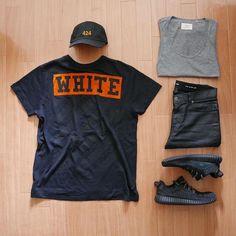 WEBSTA @ ldn2hk - Orange you glad?#outfitgrid @outfitgrid @dennistodisco // Cap: #424fairfax // Tee: #offwhite #offwhitecovirgilabloh // Tank: #fog x #fearofgod x #pacsun // Denim: #saintlaurent // Shoes: #adidasoriginals #yeezyboost350 #pirateblack