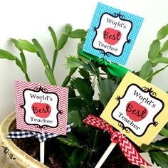 Printable plant stakes for Teacher Appreciation! So cute and easy!  Download at www.sunshinetulipdesign.com