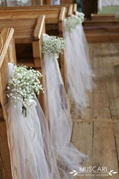 Ślub i wesele w Łochowie – koronka motywem przewodnim gypsophila and tulle – decoration of pews in the church - Wedding Church Aisle, Church Wedding Flowers, Wedding Pews, Church Wedding Decorations, Wedding Chairs, Ceremony Decorations, Wedding Bouquets, Rustic Wedding, Tulle Decorations