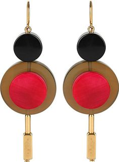 Marni Horn-Embellished Drop Earrings in Gold (Lampone)