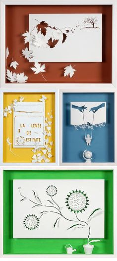 Daniel Mar Paper Art.  recently spotted the work of French paper artist, Daniel Mar, over at Paper Forest, and I had to see more so I immediately headed over to his portfolio, which is filled with so many beautiful, intricate projects. I love the interplay of papercuts and sculptural paper elements that Daniel uses to create dimension. So inspiring!