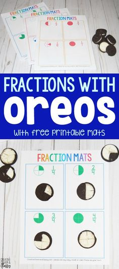 Use Oreo cookies to teach fractions with these free printable fraction mats! Oreo cookie fractions are a fun, hands-on and edible math activity!