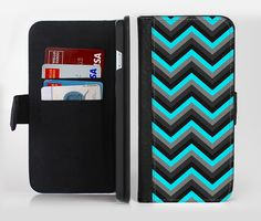 The Turquoise-Black-Gray Chevron Pattern Ink-Fuzed Leather Folding Wallet Credit-Card Case for the Apple iPhone 6/6s, 6/6s Plus, 5/5s and 5c from DesignSkinz