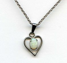 Vintage Opal Sterling Heart Pendant Necklace Dainty Stacking #NotSigned #Pendant