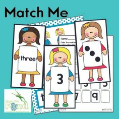 This printable math game is called MATCH ME and it aims to help children recognise and match dot patterns, numerals and number words for numbers Fun Classroom Activities, Preschool Math, Math Classroom, Kindergarten Activities, Teaching Math, Teaching Ideas, Classroom Ideas, Numbers Kindergarten, Math Numbers