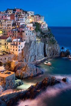 Someone ship me there please !  Night in Manarola, Cinque Terre, Liguria, Italy