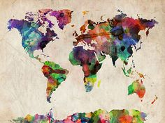 Watercolor Map of the World Canvas Art Print.
