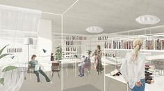 Library atmosphere, framework furniture, nice and white.