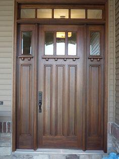 Trendy Wooden Front Door With Sidelights Craftsman Style 15 Ideas Craftsman Front Doors, Wood Front Doors, Craftsman Exterior, Exterior Front Doors, Craftsman Style, Garage Doors, Car Garage, Main Door Design, Front Door Design