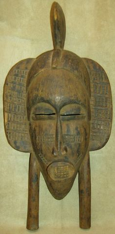 SENUFO KPELIE Mask Hand Carved Wood African Art Collectibles