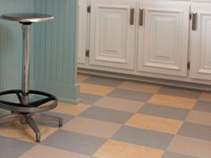replace linoleum floor with marbled-finish Marmoleum tiles | HGTV