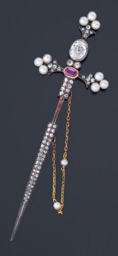 An antique silver, cultured pearl and rose-cut diamond sword pin, 19th century. Length: 9cm. #antique