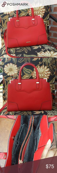 """Rebecca Minkoff Amorous satchel ---READ---  Red Amorous satchel from Rebecca Minkoff in a beautiful bright red. Bag is mad out of saffiano leather, which is a hard/ rigid  leather. The leather cracked on the inside of the straps. Strap function is NOT compromised I use this  bag all the time without problems.   bag is very sturdy,  clear thick fabric glue like """"magna_tac 809"""" can be be used to mend the leather back together if you want a DIY project.                10 in. H x 13.5 in. W x…"""