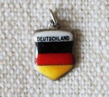 Vintage 925 Silver & Enamel GERMANY Travel Shield Charm for Bracelet