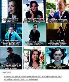 Agents of SHIELD, Jemma Simmons, Skye/Daisy Johnson, Phil Coulson, Grant Ward, Maria Hill, Nick Fury, Melinda May