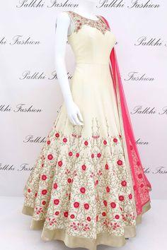 Beige Designer Full Flair Outfit with Elegant Handwork