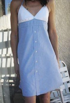 Dress Shirt turned sun dress DIY pattern http://www.cutoutandkeep.net/projects/sun-dress-dress-shirt