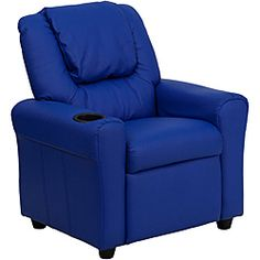 Contemporary Blue Vinyl Kids Recliner with Cup Holder and Headrest - Overstock™ Shopping - Great Deals on Flash Furniture Kids' Chairs
