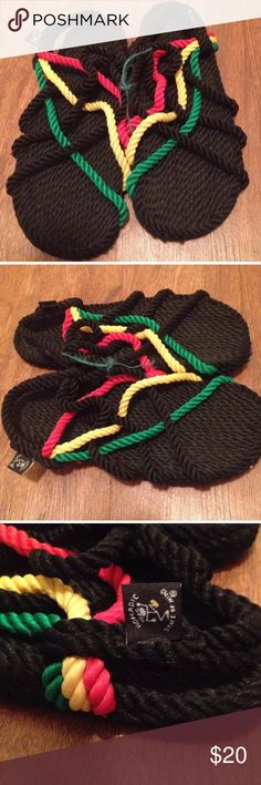 Rasta unisex sandals green red yellow shoes rope sandal in rasta colors! Red, yellow, green, and black a known and meaningful color combination. Lightweight, durable,  soft rope,  machine washable SEE MEASUREMENTS BEFORE BUYING.   Sizing :  11 inch long , 4 inch wide at largest point on sandals   I couldn't find a size tag Shoes Sandals