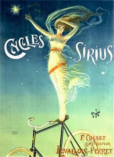 Cycles Sirius 1898; think seagulls in hair and water waves& whales in skirt, sandollar wheels...