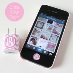 Dress Your Tech: Free Printable iPhone Charger Wraps and Home Button Stickers by forchicsake.com