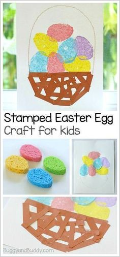 Easy Easter Craft for Preschool and Kindergarten: Stamped Easter Eggs and Paper Basket ~ BuggyandBuddy.com #kidscrafts