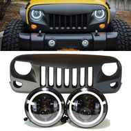 Jeep JK - Projector headlights halo & Eagle eye Grille combo pack
