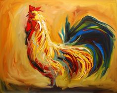 Yummy Rooster by Diane Whitehead - Yummy Rooster Painting - Yummy Rooster Fine Art Prints and Posters for Sale Rooster Painting, Rooster Art, Acrylic Painting Canvas, Canvas Art, Canvas Prints, Knife Painting, Canvas Paintings, Painting Tips, Picasso