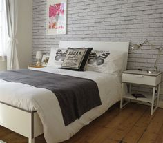 Love the brick wallpaper behind Anna's TRYSIL bed | At home in London | live from IKEA FAMILY