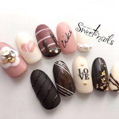ネイル(No.1992779)|アイシング |スイーツ |3D |ハート |デート |冬 |ピンク |マット |バレンタイン |ブラウン |ブラック |ジェルネイル |ハンド |ミディアム |チップ | かわいいネイルのデザインを探すならネイルブック!流行のデザインが丸わかり! Fancy Nails, Cute Nails, Pretty Nails, Sharpie Nail Art, Sugar Nails, Korean Nail Art, Valentine's Day Nail Designs, Kawaii Nails, Nail Polish Art