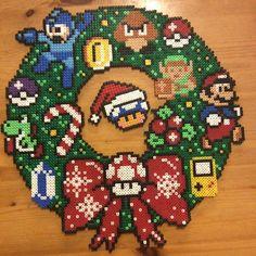 Nintendo Christmas wreath perler beads by acraftynerd