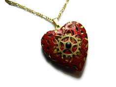 Steampunk Necklace Red Lace Heart Photo Locket with Gear by Dr Brassy Steampunk - www.wee-do.com