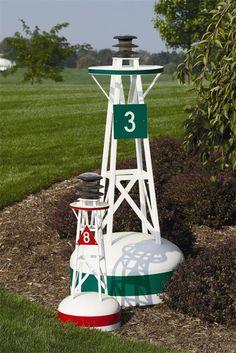 "lighthouse decor for patios | Ornamental Outdoor Nautical Decor Solar Large Buoy - 54"" (Item #:152)"