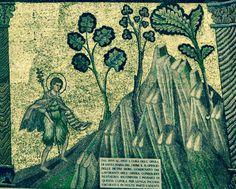 Mosaïques du Baptistère de Firenze. L'histoire de Jean-Baptiste. Dôme côté Nord-Est-Sud. 3. St Jean Baptiste va dans le désert, vivre en ermite