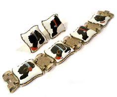 Vintage 1950s  Nubian Enameled Link Bracelet & by PinkyAGoGo