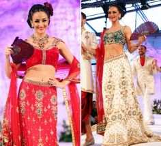 asiana bridal show charmi creations red gold cream lenghas via IndianWeddingSite.com