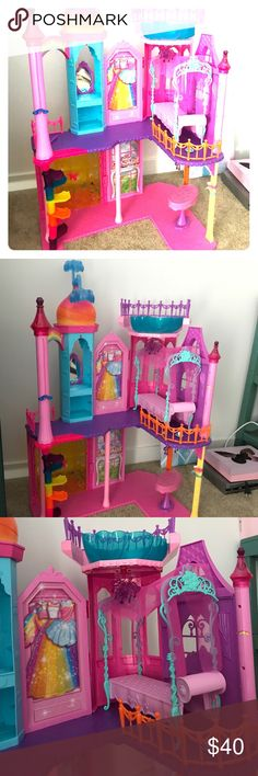 Barbie Rainbow Cove Princess Castle Playset Enter a kingdom of rainbows and storytelling fun with the Barbie rainbow castle. Three colorful floors highlight the rainbow theme with brightly colored backdrops, details and accessories. At the top, sparkly clouds can hold a fairy doll as she spins and overlooks the entire cove (dolls sold separately). Double doors are decorated with rainbow hues and cutout butterflies. A dining room on the first floor has room for a table you can set for two…
