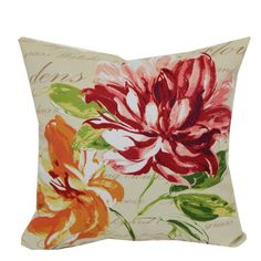"""Mainstays Outdoor 16"""" Floral Script Toss Pillow, $5 each, I would maybe get 2"""